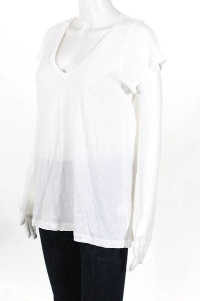 Alene Too White Happiest In The Hamptons V Neck Tee Shirt Size Medium New $60