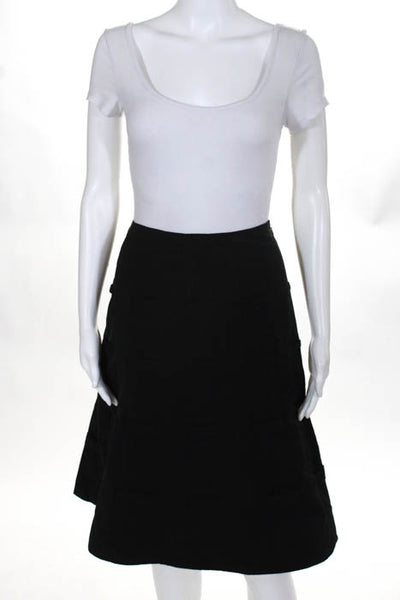 Premise Black Zipper Closure Flare Out Women's Knee Length Pleated Skirt Size 10