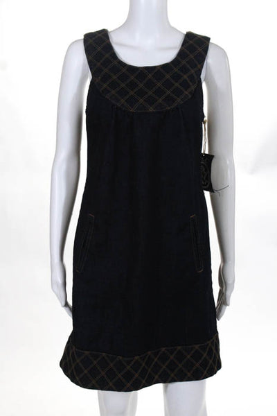 Anlo Blue Brown Cotton Pocket Sleeveless Above Knee Denim Dress Size 8 New