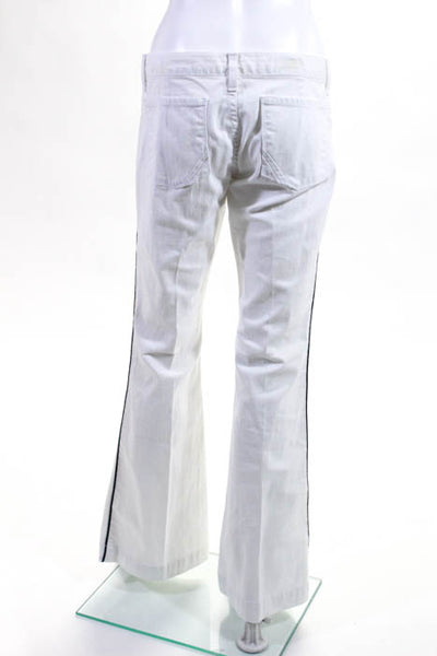 Anglo White Navy Blue Cotton Flare Leg Jeans Size 31 New