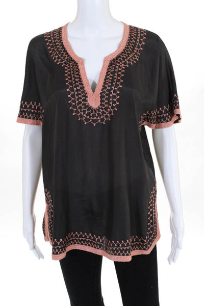 Love Sam Gray Pink Silk Embroidered V Neck Short Sleeve Blouse Size Extra Small