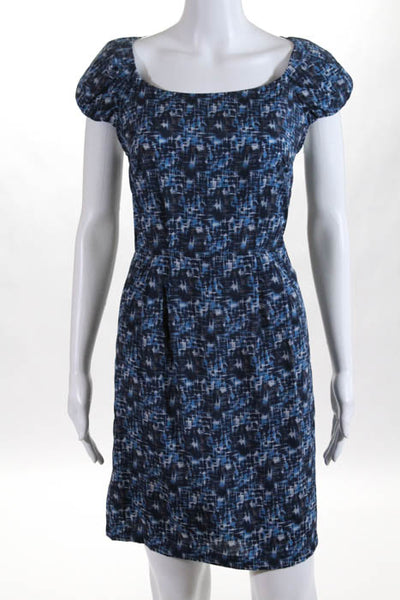Collective Concepts Blue Printed Scoop Neck Cap Sleeve Sheath Dress Size Large