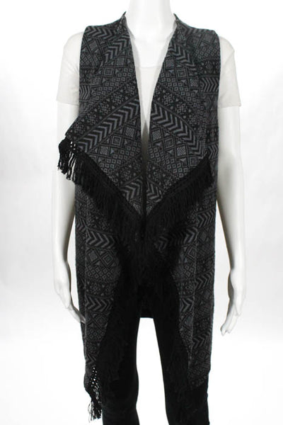 C Wonder Grey Printed Fringe Open Front Stretch Knit Vest Size Small