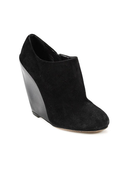 Alaia Black Leather Zip Up High Wedge Heel Round Toe Booties Size 9