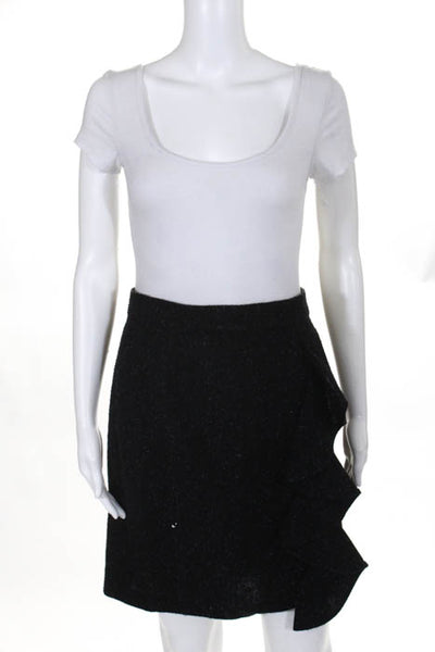 BB Dakota Black Speckled Ruffle Pencil Skirt Size 6