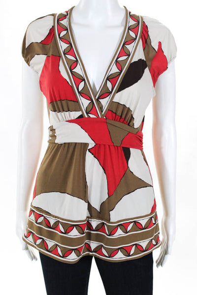 BCBGMAXAZRIA Beige Red Silk Abstract Sleeveless V Neck Blouse Size Small