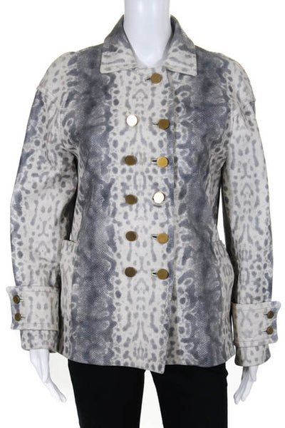 Gucci Gray Ivory Snake Print Embossed Leather Double Breasted Jacket Size EUR 36