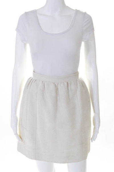 Carven White Cotton Pleated A Line Mini Skirt Size 38