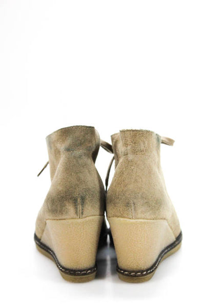 J Crew Tan Brown Suede Rubber Wedge Heel Ankle Booties Size 6