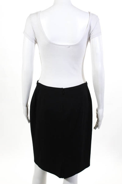 Elie Tahari Black Knee Length Inverted Pleat Back Pencil Skirt Size 8