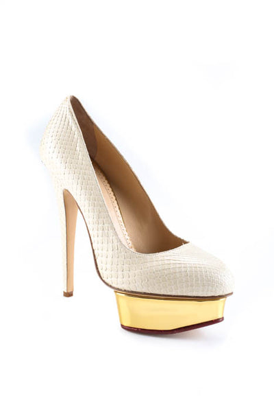 Charlotte Olympia Ivory Dolly Court Python Platforms Pumps Size 39 9 New In Box