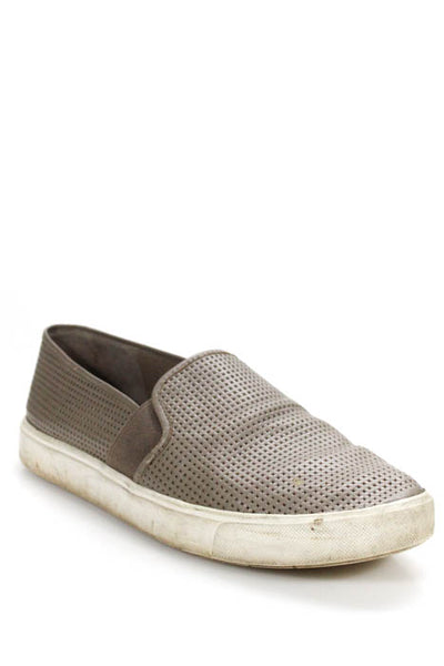 Vince Womens Sneakers Size 8 Gray Perforated Leather Platform Slip On