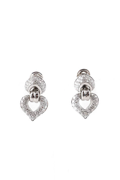 Designer Women's Earrings 18Kt White Gold Diamond Heart Clip On Drop