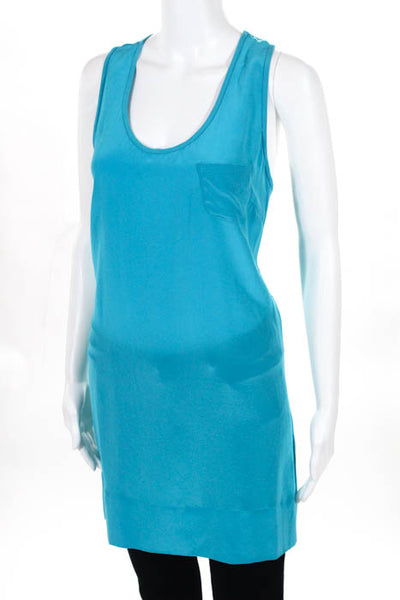 Joie Womens Top Size Large Teal Blue Scoop Neck Sleeveless