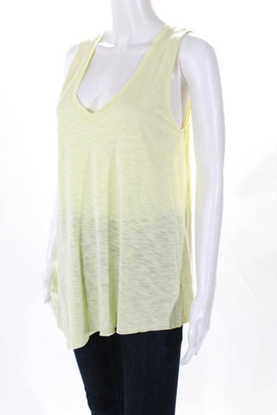 Lilla P Womens Tank Top Size Medium Yellow V Neck Asymmetrical Hem New $88