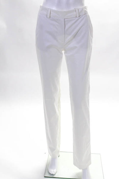 Rene Lezard Womens Slim Pants Size 34 White Cotton Straight Leg $375 New