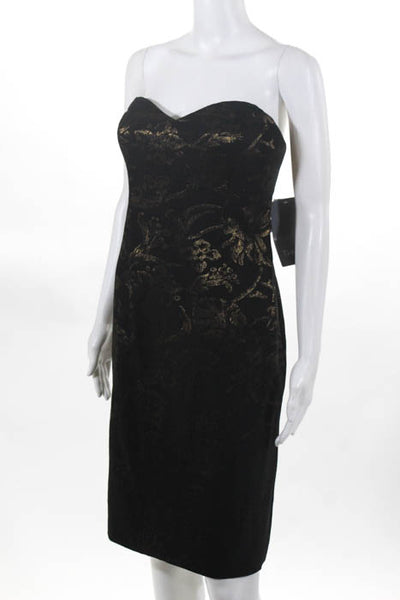 Theia Womens Strapless Dress Size 12 Black Sweetheart Gold Tone Print $990 New