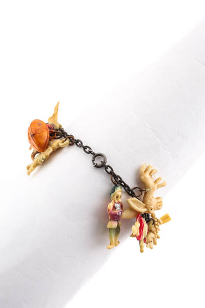 Designer Vintage Metal Chain Charm Bracelet Multicolored Resin Animal Characters
