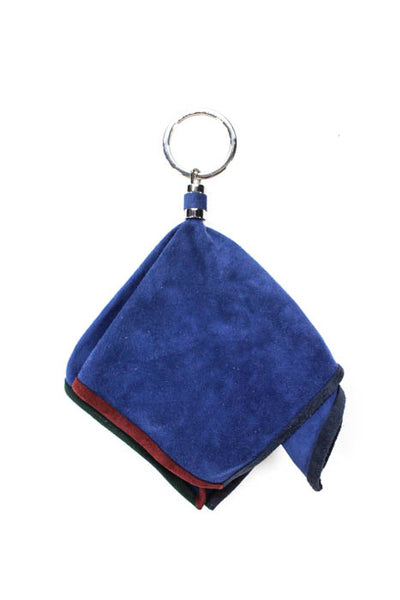 Loro Piana Unisex Keychains Blue Suede Multi Color Trim Bag Charm Keychain