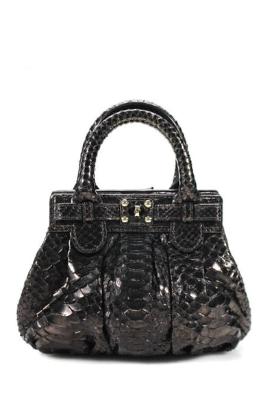 ZAGLIANI Womens Handbags Black Laminated Python XS Puffy Satchel