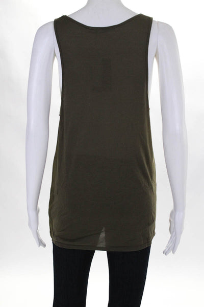 Twenty Womens Army Tank Top Size Small Green Scoop Neck Pull Over $65 New