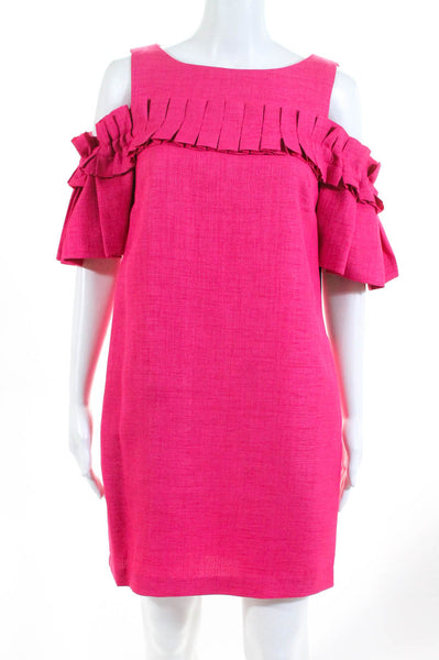 Badgley Mischka Womens Day Dress Size 6 Pink NEW $440 Sleeveless SC1994