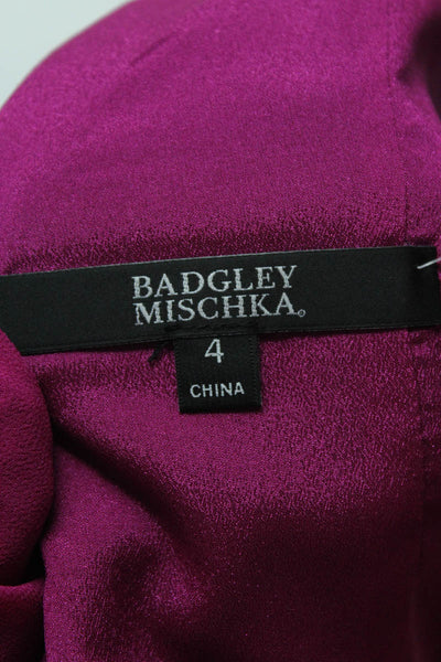 Badgley Mischka Womens Evening Gown Size 4 Fuchsia Purple Sleeveless EG2404