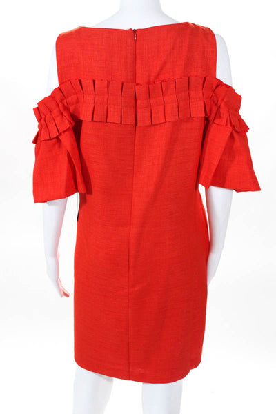 Badgley Mischka Womens Day Dress Size 12 Orange NEW $440 Sleeveless SC1994