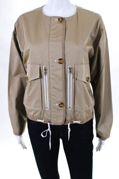 Badgley Mischka Womens Sportswear Jacket Size 12 Khaki Cotton New $485 BSJ5030