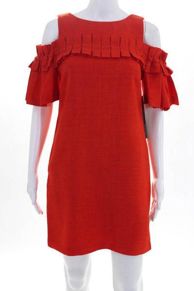 Badgley Mischka Womens Pleated Sack Cocktail Dress Size 0 Orange SC1994 NEW