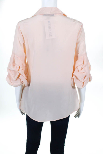 Badgley Mischka  womens Blouse Size 6 Peach Alabaster Bell Sleeve BST1066 NEW