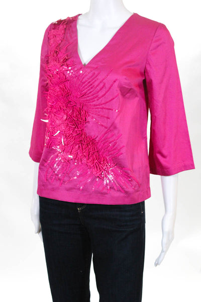 Badgley Mischka Womens Top Size 0 Pink Cotton Sequined V-Neck $495 New BST1118