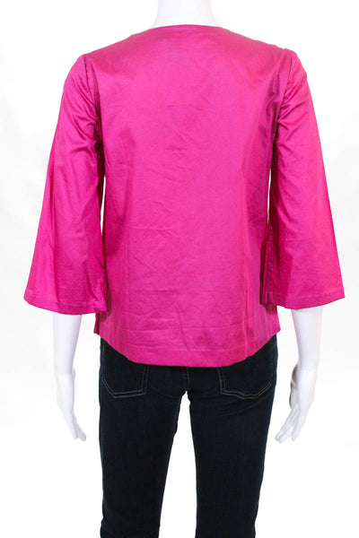 Badgley Mischka Womens Top Size 6 Pink Cotton Sequined V-Neck $495 New BST1118