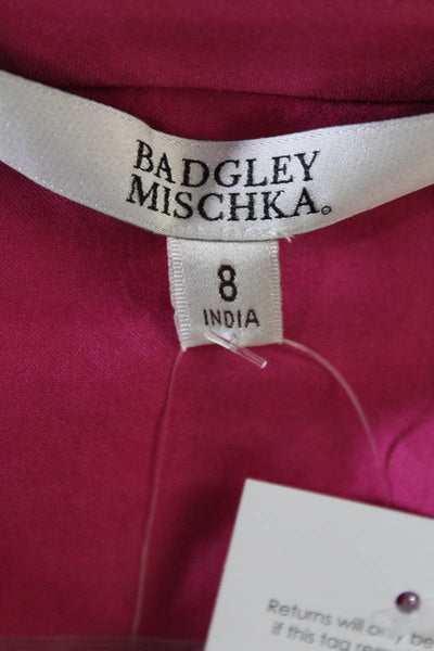 Badgley Mischka Womens Top Size 8 Pink Cotton Sequined V-Neck $495 New BST1118