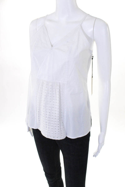 Brochu Walker Womens V Neck Tank Spaghetti Strap White Size XS