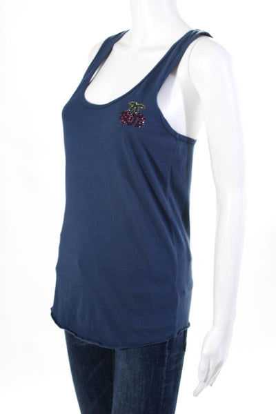Pam & Gela Womens Bead Embroidered Tank Scoop Neck Blue Size Petite XS Cotton
