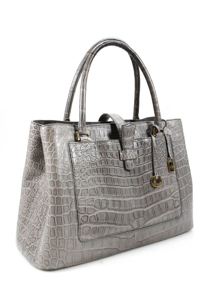 Loro Piana Gray Crocodile Bellevue Tote Handbag Dual Rolled Handles