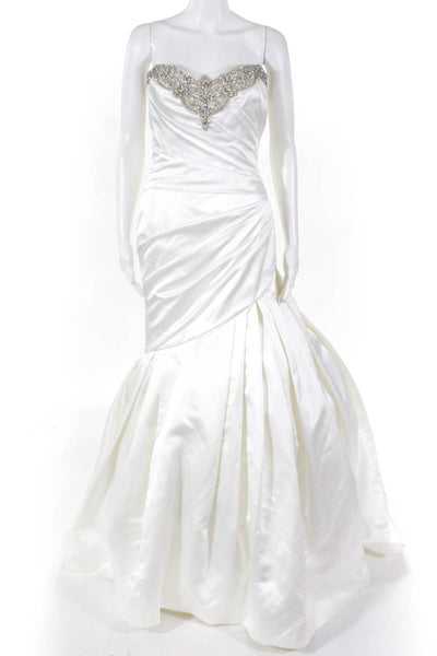 Impression Bridal Womens Sweetheart Strapless Beaded Wedding Gown Ivory Size 10