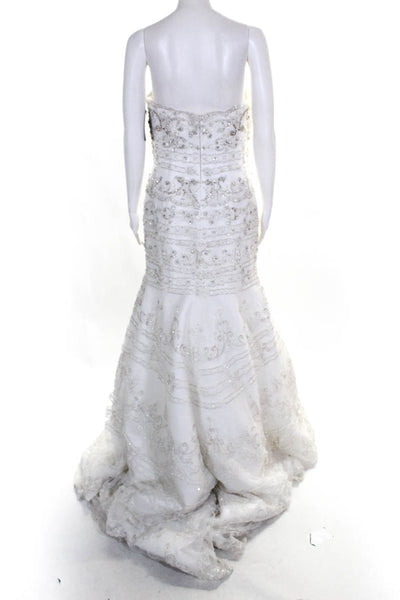 Moonlight Womens Sweetheart Beaded Strapless A-Line Wedding Gown Ivory Size 10