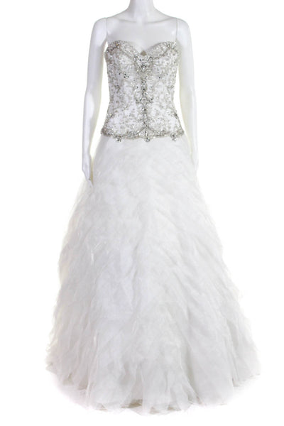 Moonlight Womens Strapless Sweetheart Beaded Ruffle Wedding Dress White Size 10