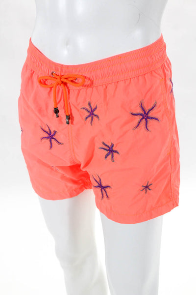 Les Canebiers Mens Ermitage Star Fish Swim Shorts Orange Size Small