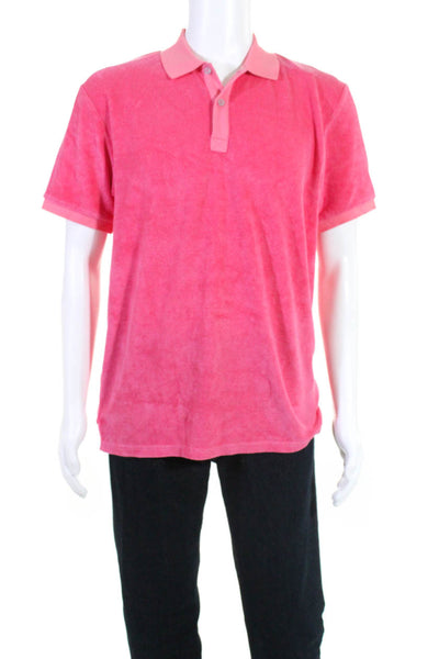 Les Canebiers Mens Cabanon Polo Shirt Raspberry Pink Size 3XL