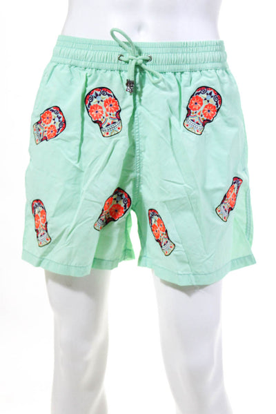 Les Canebiers Mens Skull Embroidered Swim Trunks Mint Green Size Extra Large