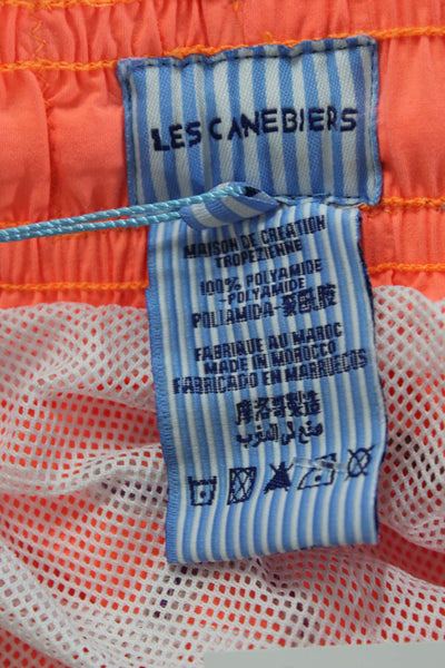 Les Canebiers Mens Ermitage Starfish Embroider Swim Trunks Neon Orange Size 2XL