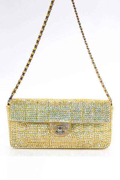 Chanel Strass Chocolate Bar E/W Flap Shoulder Handbag Yellow Size Small