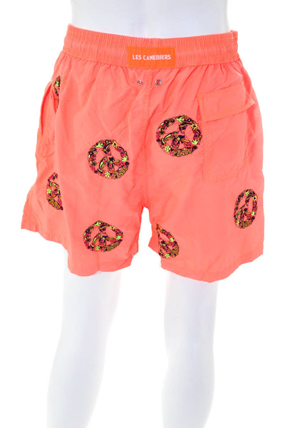 Les Canebiers Mens All Embroidered Peace Swim Trunks Orange Size Extra Extra Lar