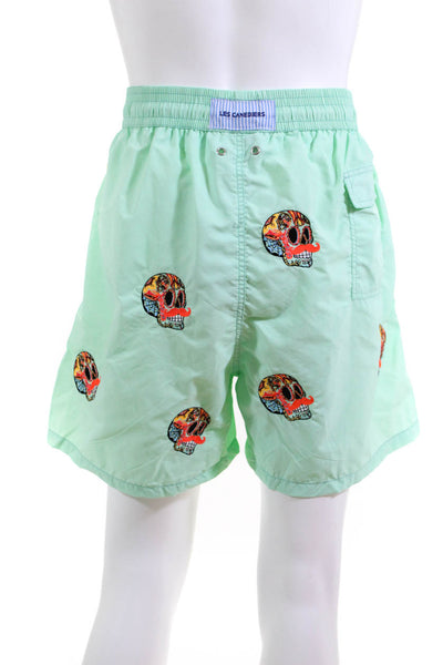 Les Canebiers Mens Mustache Skull Swim Trunks Green Size Four Extra Large