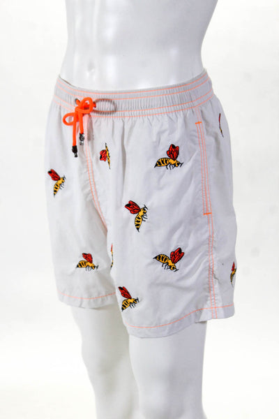Les Canebiers Mens Hermitage Jersey Bee Swim Trunk Shorts White Size Extra Large
