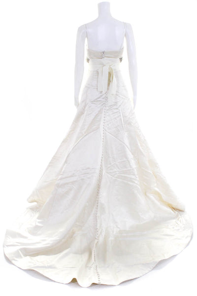 Vera Wang Womens 2004 Collection Strapless Gown  Off White Beaded Trim Size 4