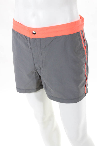 Les Canebiers Mens Swim Trunks Gray Neon Trim Size  2XL